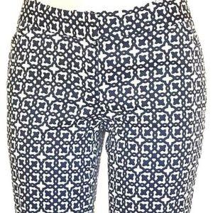 Navy Blue & White Printed Capri Cropped Pants